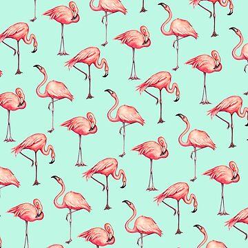 Flamingo Pattern - Blue by KellyGilleran