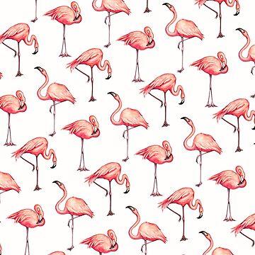 Flamingo Pattern - White by KellyGilleran