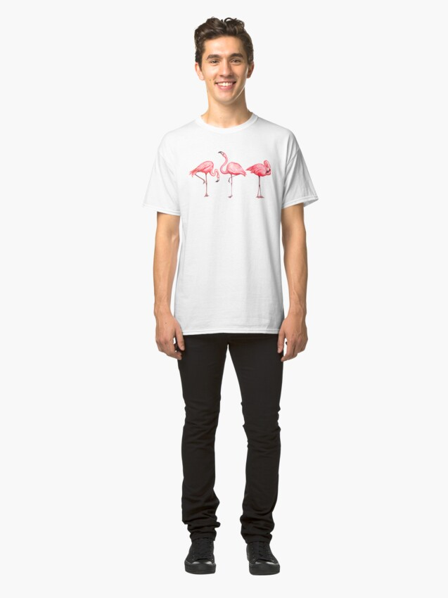 Alternate view of Flamingo Pattern - Black Classic T-Shirt
