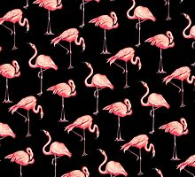 Flamingo Pattern - Black by Kelly  Gilleran