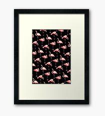 Flamingo Pattern - Black Framed Print