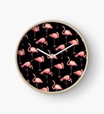Flamingo Pattern - Black Clock