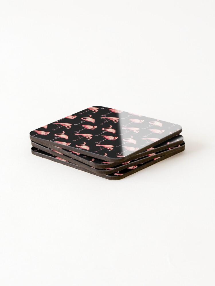 Alternate view of Flamingo Pattern - Black Coasters (Set of 4)