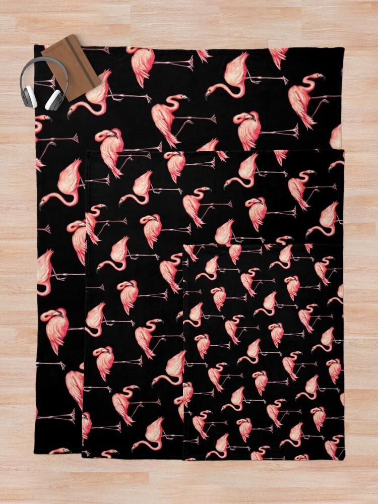 Alternate view of Flamingo Pattern - Black Throw Blanket