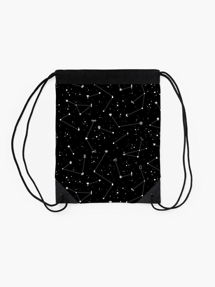 Alternate view of Constellations (Black) Drawstring Bag