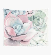 Elegant Succulents Pink and Blue and Green Desert Succulent Illustration Wall Tapestry