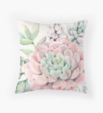 Cojín Pretty Succulents Pink and Green Desert Succulent Illustration