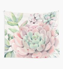 Tela decorativa Pretty Succulents Pink and Green Desert Succulent Illustration