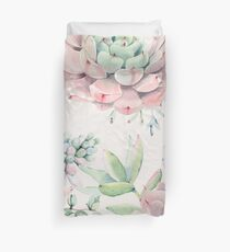 Trendy Succulents Pink and Green Desert Succulent Design Duvet Cover