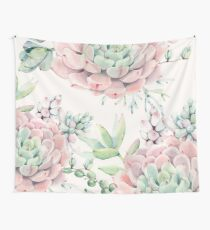 Trendy Succulents Pink and Green Desert Succulent Design Wall Tapestry