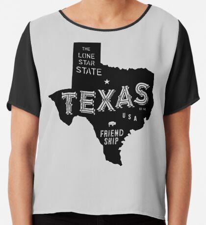 Texas State Shape & Motto & Nickname Chiffon Top