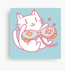 Vintage Hipster Nerdy Video Game Cat Sticker and t-shirt Canvas Print