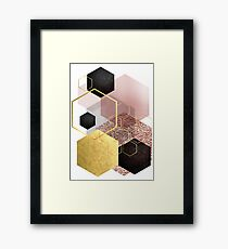 Abstract Geo in Blush Pink and Gold Framed Print