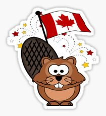 Cutie Cartoon Canadian Beaver Sticker