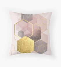 Geometric Abstract in blush pink and gold Throw Pillow