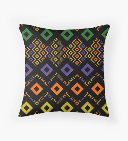 Funky color square Throw Pillow
