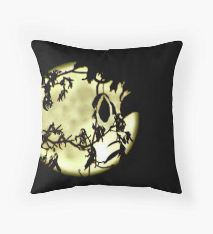 full moon through trees Throw Pillow