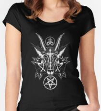 Baphoment and Satanic Symbols - Art By Kev G Women's Fitted Scoop T-Shirt
