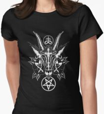 Baphoment and Satanic Symbols - Art By Kev G Women's Fitted T-Shirt