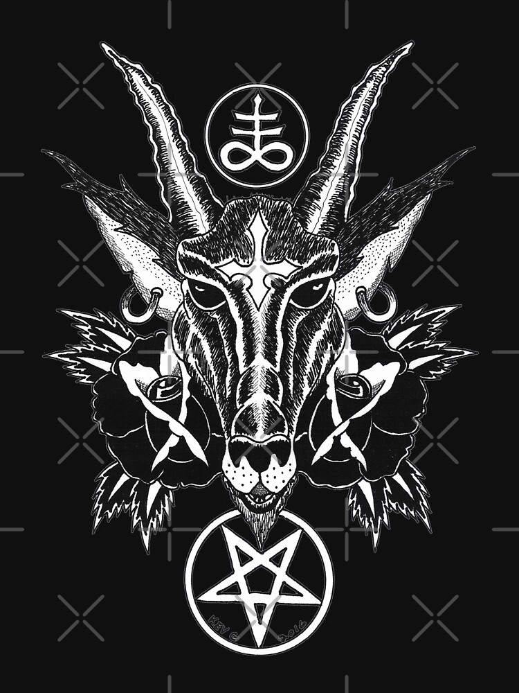 Baphoment And Satanic Symbols Art By Kev G Classic T Shirt By