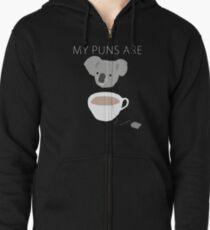 """""""Koala Tea"""" puns Zipped Hoodie"""