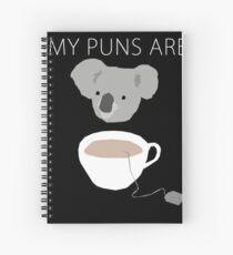 """""""Koala Tea"""" puns Spiral Notebook"""