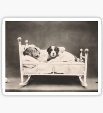 Mummy and baby puppy lying in rocking cradle Sticker