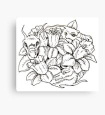 Dragons and daffodils black and white Canvas Print