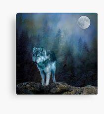 Lone Wolf Moon Canvas Print