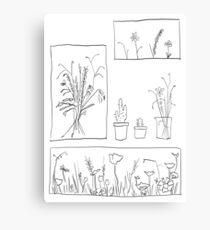 wildflowers illustrated print Canvas Print