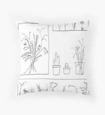 wildflowers illustrated print Throw Pillow