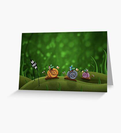 Snail Racing Greeting Card