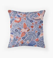 Swedish folk art birds Throw Pillow
