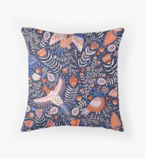 Swedish folk art birds on dark blue Throw Pillow
