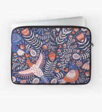 Swedish folk art birds on dark blue Laptop Sleeve