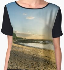 White sand beach glows under the setting sun Women's Chiffon Top