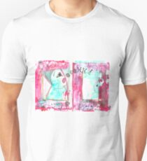 Wonder: mixed media in dark red, white and blue, sketchy style, portraits and animals T-Shirt