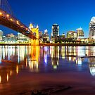 Ohio River Reflections of the Downtown Cincinnati Skyline by Gregory Ballos