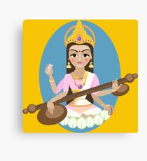 Hindu Goddess Saraswati. Vector hand drawn illustration. Canvas Print