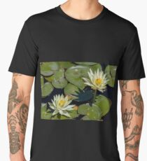 Two heads of a blooming yellow lotus on leaves in a pond Men's Premium T-Shirt