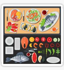 Sea Food. Healthy Food. Prepared Fish. Vegetables and Fish. Seafood Menu. Fish and Shrimps. Seafood Cuisine. Vector illustration. Flat style Sticker
