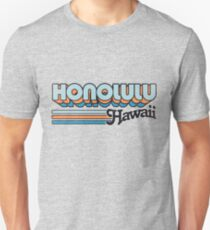 Honolulu, Hawaii | Stadt Streifen Slim Fit T-Shirt