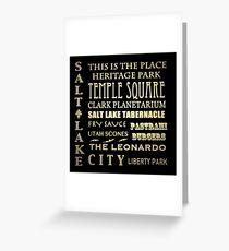 Salt Lake City Utah Famous Landmarks Greeting Card