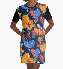 Birds And Leaves Graphic T-Shirt Dress