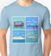 Travel Banner. Tourism Industry. Train Travel. Bus Travel. Cruise Liner Travel. Airplane Travel. Mode of Transportation. Flat Style T-Shirt