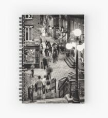 Nightlife on historic streets of Old Quebec City Rue Sous-Le-Fort and Rue du Petit-Champlain Black and white art print Spiral Notebook