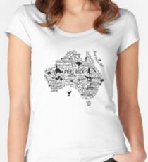 Typography poster. Australia map. Australia travel guide. Fitted Scoop T-Shirt