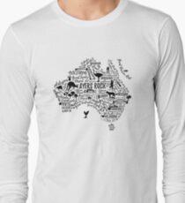 Typography poster. Australia map. Australia travel guide. Long Sleeve T-Shirt