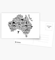 Typography poster. Australia map. Australia travel guide. Postcards