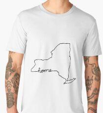 New York Home State Outline Men's Premium T-Shirt